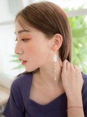 長鏈質感珍珠小圓片耳環