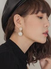 大理石繩結圓圈金外框耳針式耳環