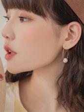 簡約圓圈色塊/珍珠綴飾耳針式耳環