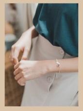 優雅貓咪造型轉珠珠可調節式手鍊