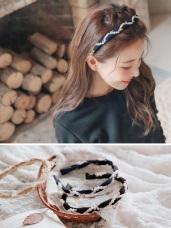 浪漫紗質優雅亮鑽珍珠髮箍