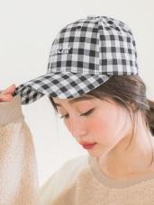 可調節帽圍格紋電繡字棒球帽