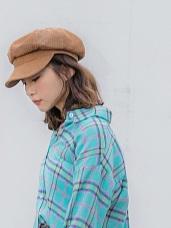 純色可調節帽圍絨面感報童帽