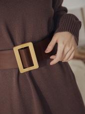 純色皮革方型金屬釦環寬版腰封